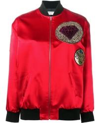 Женский красный шелковый бомбер от Saint Laurent