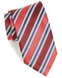 Красный шелковый галстук в горизонтальную полоску