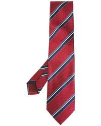 Мужской красный шелковый галстук в горизонтальную полоску от Brioni