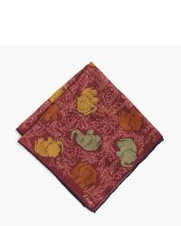 Красный шелковый нагрудный платок с принтом
