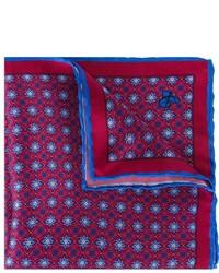 Мужской красный шелковый нагрудный платок с цветочным принтом от Canali