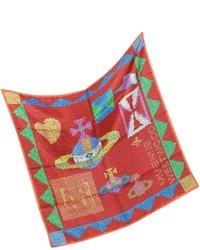 Красный шелковый шарф с принтом