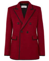 Женский красный шерстяной двубортный пиджак от Saint Laurent