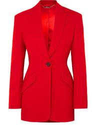 Женский красный шерстяной пиджак от Alexander McQueen