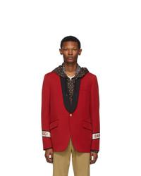 Мужской красный шерстяной пиджак от Gucci