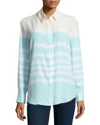 Мятная блуза на пуговицах в горизонтальную полоску