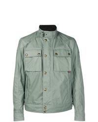 Мятная куртка в стиле милитари