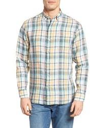 Мятная льняная рубашка с длинным рукавом