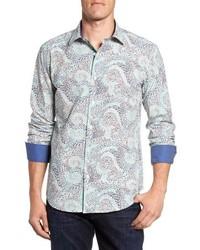 Мятная рубашка с длинным рукавом с принтом