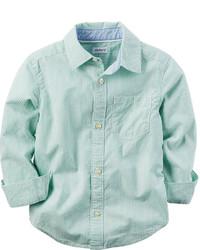 Мятная рубашка с длинным рукавом