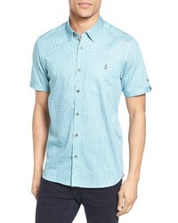 Мятная рубашка с коротким рукавом с принтом