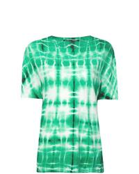 Мятная футболка с круглым вырезом с принтом тай-дай
