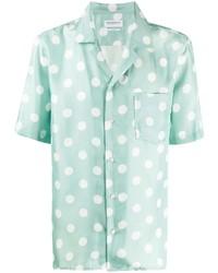 Мятная шелковая рубашка с коротким рукавом с принтом