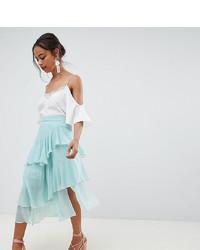 Мятная шифоновая юбка-миди со складками
