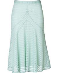 Мятная юбка-миди со складками