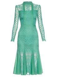 Мятное кружевное платье-миди