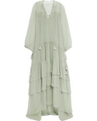 Мятное шелковое платье-макси