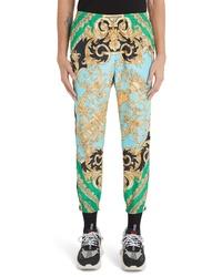Мятные брюки чинос с принтом