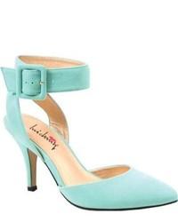 Мятные замшевые туфли с вырезом
