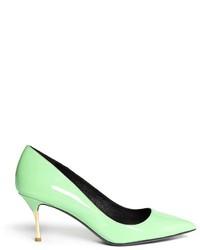 Мятные кожаные туфли