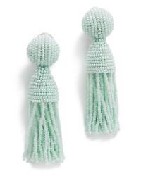 Женские мятные серьги из бисера от Oscar de la Renta