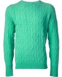 Мятный вязаный свитер