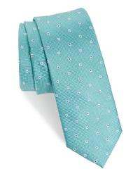 Мятный галстук с цветочным принтом
