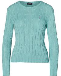 Мятный свитер с круглым вырезом