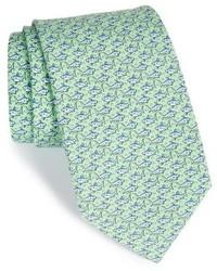 Мятный шелковый галстук с принтом
