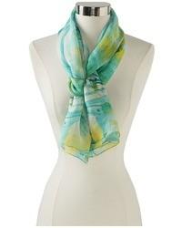 Мятный шелковый шарф с принтом