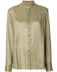 Оливковая блуза на пуговицах