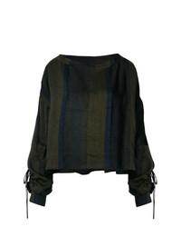 Оливковая блузка с длинным рукавом в вертикальную полоску от Andrea Ya'aqov