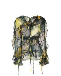 Оливковая блузка с длинным рукавом с принтом тай-дай от Asai