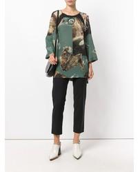 Оливковая блузка с длинным рукавом с принтом от Antonio Marras
