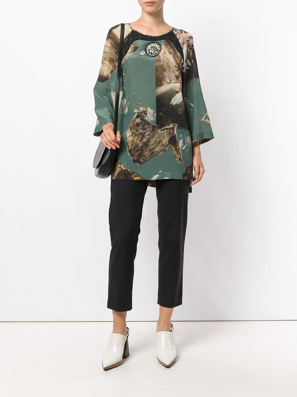 15174356730 ... Оливковая блузка с длинным рукавом с принтом от Antonio Marras ...