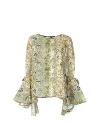 Оливковая блузка с длинным рукавом с принтом от Black Coral