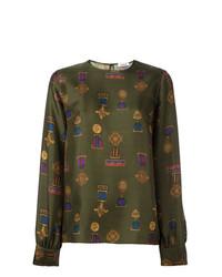 Оливковая блузка с длинным рукавом с принтом от P.A.R.O.S.H.