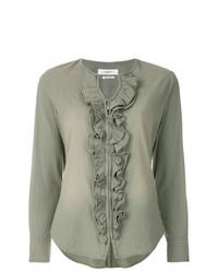 Оливковая блузка с длинным рукавом с рюшами от Isabel Marant Etoile