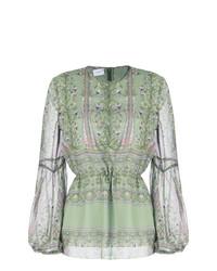 Оливковая блузка с длинным рукавом с цветочным принтом от Giambattista Valli