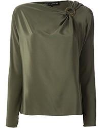Оливковая блузка с длинным рукавом