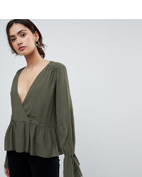 Оливковая блузка с длинным рукавом от Asos Tall