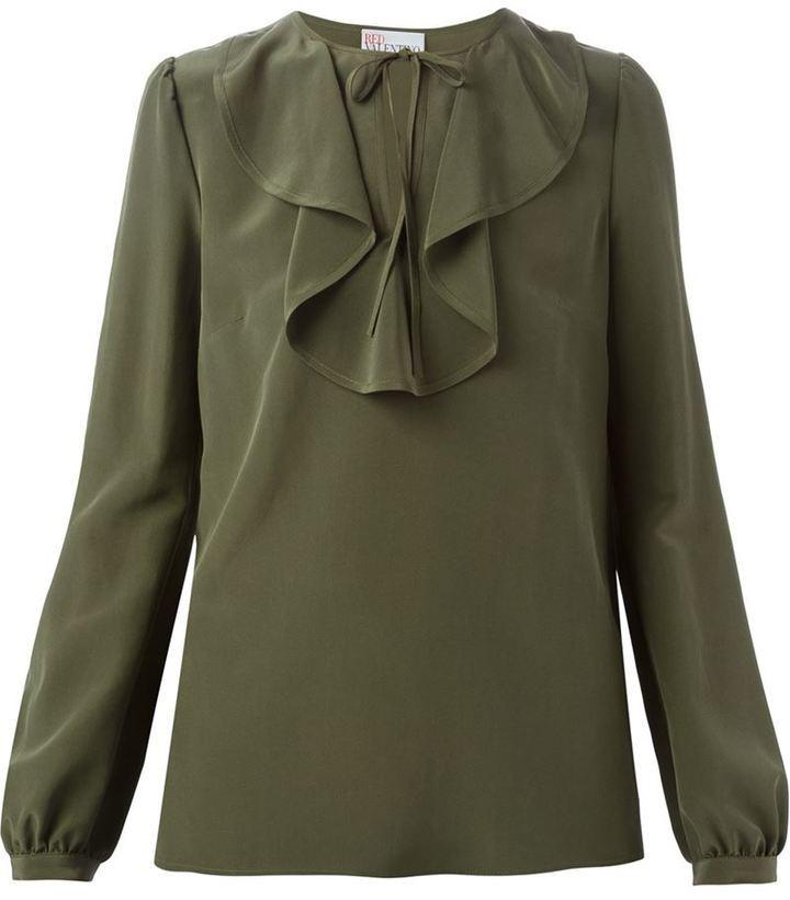 e7d3ee30050 ... Оливковая блузка с длинным рукавом от RED Valentino