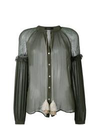 Оливковая блузка с длинным рукавом от Wandering