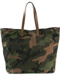 Оливковая большая сумка из плотной ткани с камуфляжным принтом
