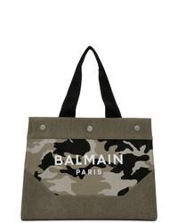 Мужская оливковая большая сумка из плотной ткани с камуфляжным принтом от Balmain