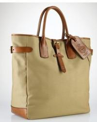 Оливковая большая сумка из плотной ткани с принтом