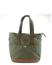 Оливковая большая сумка из плотной ткани