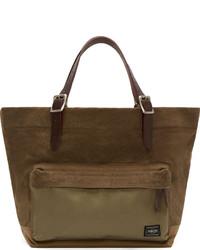 Мужская оливковая большая сумка из плотной ткани от Porter