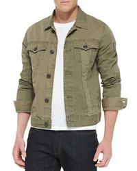Оливковая джинсовая куртка