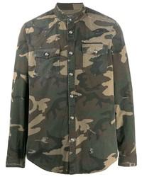 Мужская оливковая джинсовая рубашка с камуфляжным принтом от Balmain